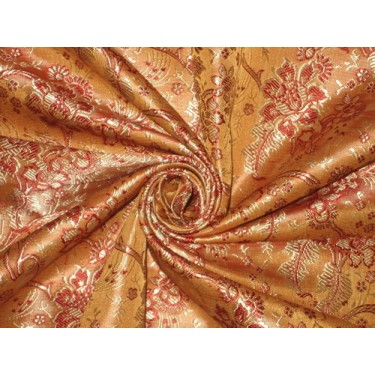Silk Brocade Yellow,Red & Gold 44""