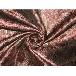 Silk Brocade Brown,Wine & Gold 44""
