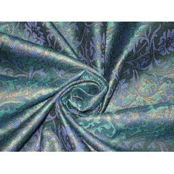 Spun Silk Brocade Fabric Blue,Green & Metallic Bronze 44""