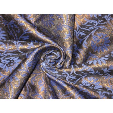 Spun Silk Brocade Fabric Blue,Black & Metallic Bronze 44""