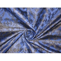 100% Pure Silk Brocade Vestment Fabric Blue & Black 2 Toned 44""