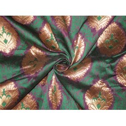 Pure Silk Brocade Fabric Green,Purple & Metallic Gold 44""