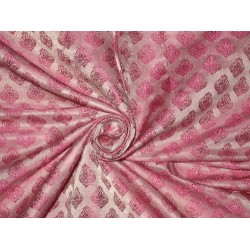 100% Pure Silk Brocade Light Pink & Pink 44""
