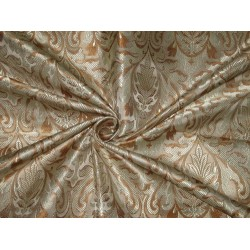 Silk Brocade Fabric Golden Cream & Brown 44""