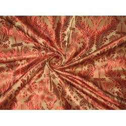 100% Pure Silk Brocade Vestment Fabric Red & Light Brown 44""