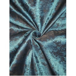 Pure Silk Brocade fabric Kingfisher Blue & Black 44""
