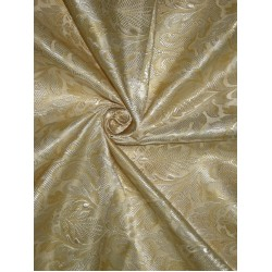 "Silk Brocade Fabric Golden Butter & Cream 44"" BRO174[5]"