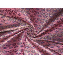 Pure SILK BROCADE FABRIC Pink,Purple & Gold colour 44""