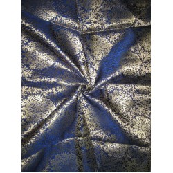 Pure Heavy Silk Brocade Fabric Metallic Gold & Dark Blue