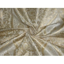 Pure Heavy Silk Brocade Fabric Metallic Gold & Ivory