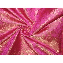 Pure Silk brocade fabric Pink & Gold colour