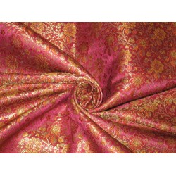 Pure SILK BROCADE FABRIC Multi colour 44""