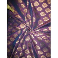 100% Pure Silk Brocade fabric Red,Blue & Metallic Gold Colour