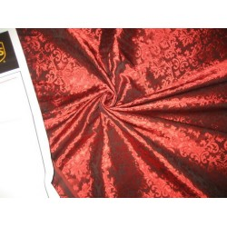 Spun Silk Brocade fabric Ruby Red Color