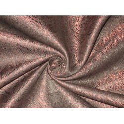 Brocade Fabric Black & Red Metallic 44""