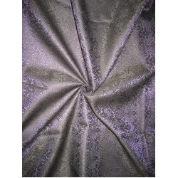 Brocade Fabric Purple,Black & Metallic 44""