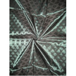 Spun Silk Brocade Fabric Dark Green x Black Shot 44""