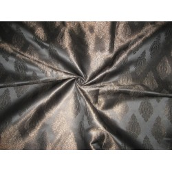 Satin Brocade Fabric Black & Metallic 44""