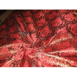 Polyester Brocade Fabric Red and Metallic Brown 44""