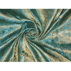 "BROCADE jacquard  FABRIC Sea Blue & Gold color floral butterflies 44""BRO22[1]"