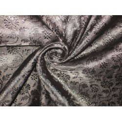 100% Pure Silk Brocade fabric Pure Black colour