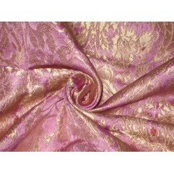 Heavy Silk Brocade Fabric Pink Lavender,Red & Gold  BRO96[5] BY THE YARD
