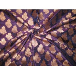 100% Pure Silk Brocade Fabric Purple with Antique Gold