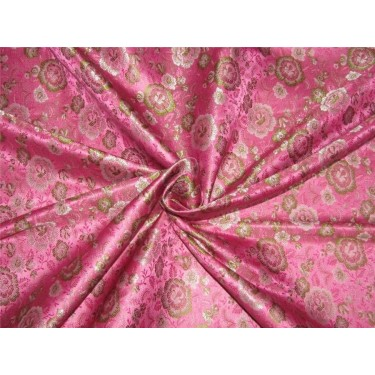 "Silk Brocade fabric pink and green 44"" Bro642[3]"
