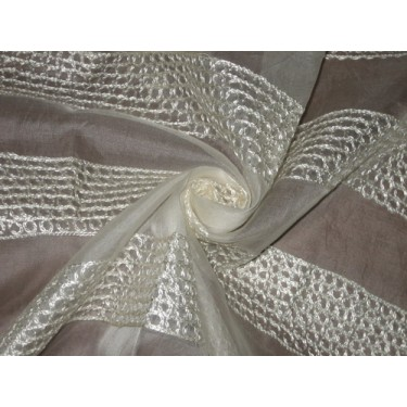 """100 % SILK ORGANZA FABRIC 44"""" EMBROIDERED Ivory COLOUR ~Semi Sheer"""