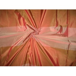"Silk Taffeta Fabric Rusty Peach & Salmon Pink stripes 54"" wide sold by the yard"