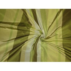 "Silk Taffeta Fabric Shades of Green stripes 54"" wide sold by the yard"