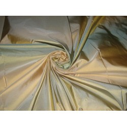 "SILK TAFFETA FABRIC 54"" Sky Blue & Sand Gold stripes"