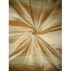 100% Pure Silk Taffeta Fabric Gold,Cafe Creme & Golden Cream stripes color