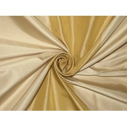 "100% Pure Silk Taffeta Fabric Gold & Golden Cream stripes color  54"" wide sold by the yard"