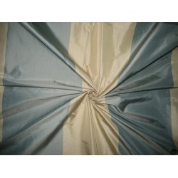 100% Pure Silk Taffeta Fabric Blueish Grey & Cream stripes color Taf#S46