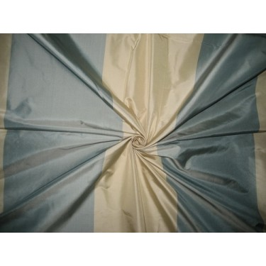 100% Pure Silk Taffeta Fabric Blueish Grey & Cream stripes color