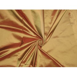 "Pure SILK TAFFETA FABRIC Rusty Brown x Golden Green TAF54[2] 54"" wide sold by the yard"