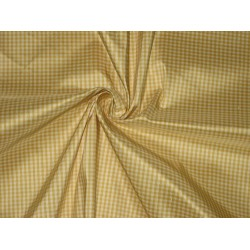 "Silk Taffeta Fabric Golden Yellow & Ivory colour plaids  54"" wide sold by the yard"