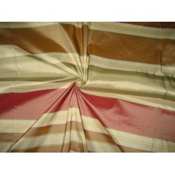 Silk Taffeta Fabric Light Red,Green,Brown & Gold stripe