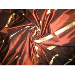 "SILK TAFFETA FABRIC Chocolate Brown & Gold stripes 54"" wide sold by the yard"