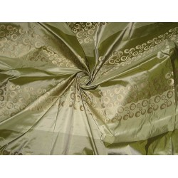 SILK TAFFETA FABRIC Light & Dark Green With Jacquard