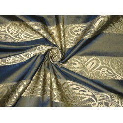SILK TAFFETA FABRIC Blue with green shot & jacquard