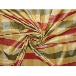 "Silk Taffeta Fabric Green,Red & Yellow plaids 54"" wide sold by the yard"