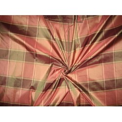 Silk Taffeta Fabric Shades of Pink & Green plaids