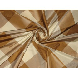 "SILK TAFFETA FABRIC Chocolate brown & Cream plaids 54"" wide sold by the yard"