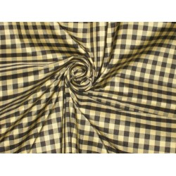 "SILK TAFFETA FABRIC 54"" Black,Gold & Grey Colour plaids"