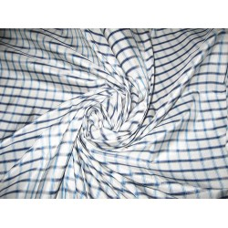 Turquoise blue, steel grey & white colour gorgeous plaids SILK TAFFETA FABRIC Width 54""