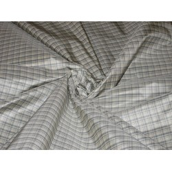 """SILK TAFFETA FABRIC Icy Blue and White colour plaids 54"""" wide sold by the yard"""