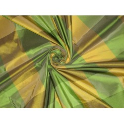 Silk Taffeta Fabric Green & Yellow colour plaids 54""