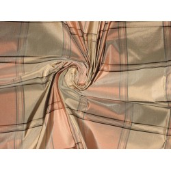 "SILK TAFFETA FABRIC Light pastel colour plaids 54"" wide sold by the yard"